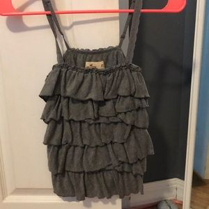 Hollister ruffle gray tank top